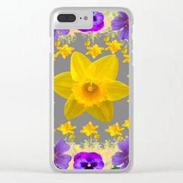 SPRING PURPLE  FLOWERS DAFFODIL ART DESIGN Clear iPhone Case