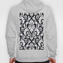 Damask Paisley Black and White Paisley Pattern Vintage Hoody