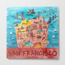 San Francisco Illustrated Map Metal Print