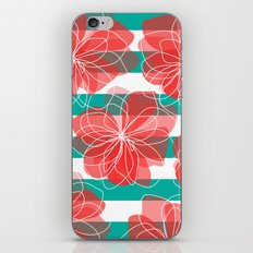 Camelia Coral and Turquoise iPhone & iPod Skin