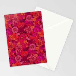 Hellebore lineart florals | red Stationery Cards