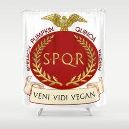 Veni Vidi Vegan Roman Badge Shower Curtain