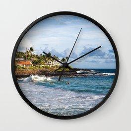 Surfers in Poipu Wall Clock