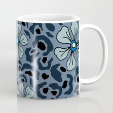 Blue animal print floral Mug