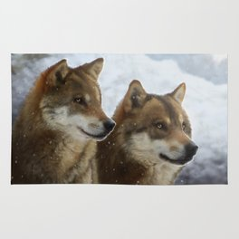 Twin Wolves Rug