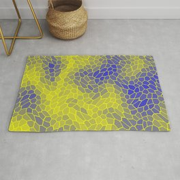 Stained glass texture of snake yellow leather with dark heat spots. Rug