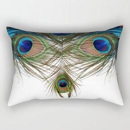 BLUE-GREEN PEACOCK FEATHERS WHITE ART Rectangular Pillow