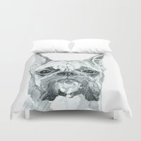 miley Duvet Covers featuring The Boxer Dog Miley by Barking Dog Creations Studio