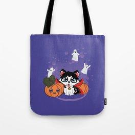 Kawaii count Huskula with pumpkins and ghosts Tote Bag