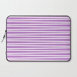 Lilac and white thin horizontal stripes Laptop Sleeve