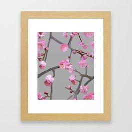 Plum blossom pattern grey Framed Art Print