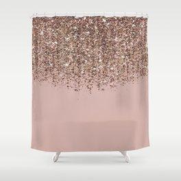 Blush Pink Rose Gold Bronze Cascading Glitter Shower Curtain