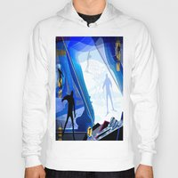 skiing Hoodies featuring Cross Country Skiing by Robin Curtiss