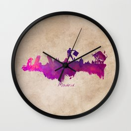 Madrid skyline city Wall Clock