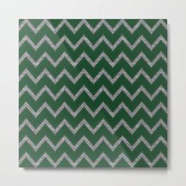 Potterverse Chevrons - Slytherin Green Metal Print