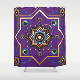 Moroccan Gold and Purple Pattern Shower Curtain
