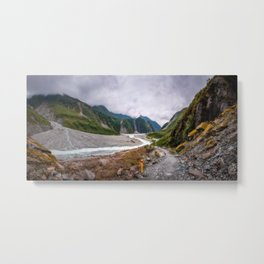 Waiho River Valley Panorama from the trail to Franz Josef Glacier in New Zealand. Metal Print
