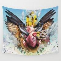clockwork Wall Tapestries featuring Clockwork Heart by Jay Haldon