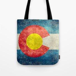 Colorado State Flag in Vintage Grunge Tote Bag