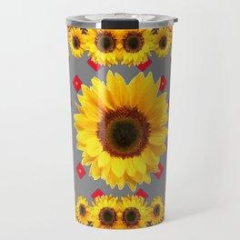 Western Blanket Style Sunflowers Grey Art Travel Mug