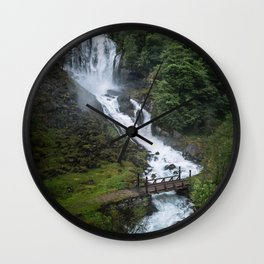 Painterly Waterfall in Norway with bridge in foreground -Landscape Photography Wall Clock