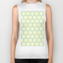 Bright Yellow Blue  Geometrical Pattern Design Biker Tank