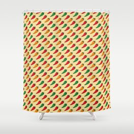 Hot Peppers Doodle Pattern - Taco Series Shower Curtain