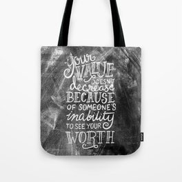 Your Value Quote - Hand Lettering Chalkboard Tote Bag