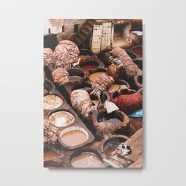 Tannery in Morocco Metal Print