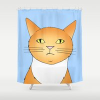 lucy Shower Curtains featuring Lucy by Caz Haggar