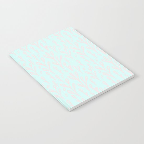 Merry christmas- abstract winter pattern with pink branch and snow Notebook