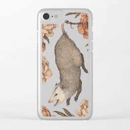 The Opossum and Peonies Clear iPhone Case