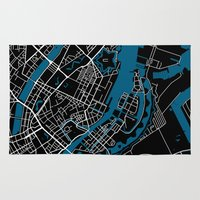 copenhagen Area & Throw Rugs featuring Copenhagen city map black colour by MCartography