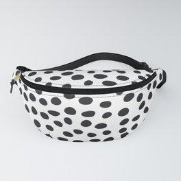 Hand Drawn Polka Dots, Spots Black &  White Fanny Pack