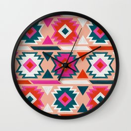 Kilim Abundance Pattern  - Blush & Teal Palette Wall Clock