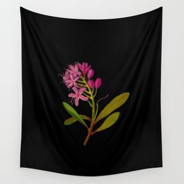 Rhododendron Ponticum Mary Delany British Botanical Floral Art Paper Flowers Black Background Wall Tapestry