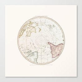 Southern Hemisphere - reproduction of William Faden's 1790 engraving Canvas Print