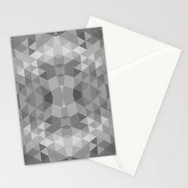 Black and White Fractal Geometric Pattern Stationery Cards