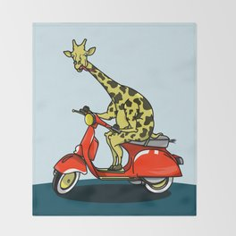 Giraffe riding a moped Throw Blanket