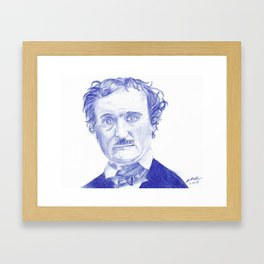 Edgar Allan Poe Portrait in Blue Bic Ink Framed Art Print