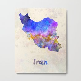 Iran in watercolor Metal Print