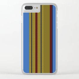 Vertical Stripes # 1 in bright blue, ocher and red Clear iPhone Case