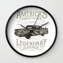 Americas Highway Legendary Garage Wall Clock