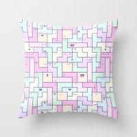tetris Throw Pillows featuring Kawaii Tetris by KiraKiraDoodles
