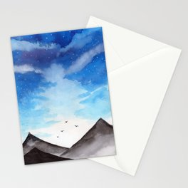 Blue Landscape with mountain Stationery Cards