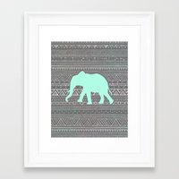 mint Framed Art Prints featuring Mint Elephant  by Sunkissed Laughter