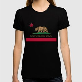 California Republic state flag with red Cannabis leaf T-shirt