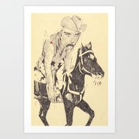 cowboy Art Prints featuring cowboy by withapencilinhand