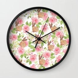 Pink brown watercolor roses floral bunny rabbit Wall Clock