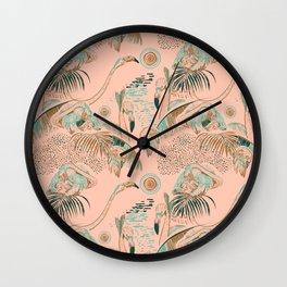 Flamingos in linocut look Wall Clock